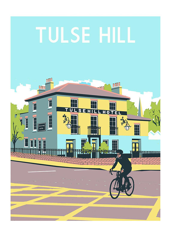 Illustration of Tulse Hill Hotel by Red Faces Prints